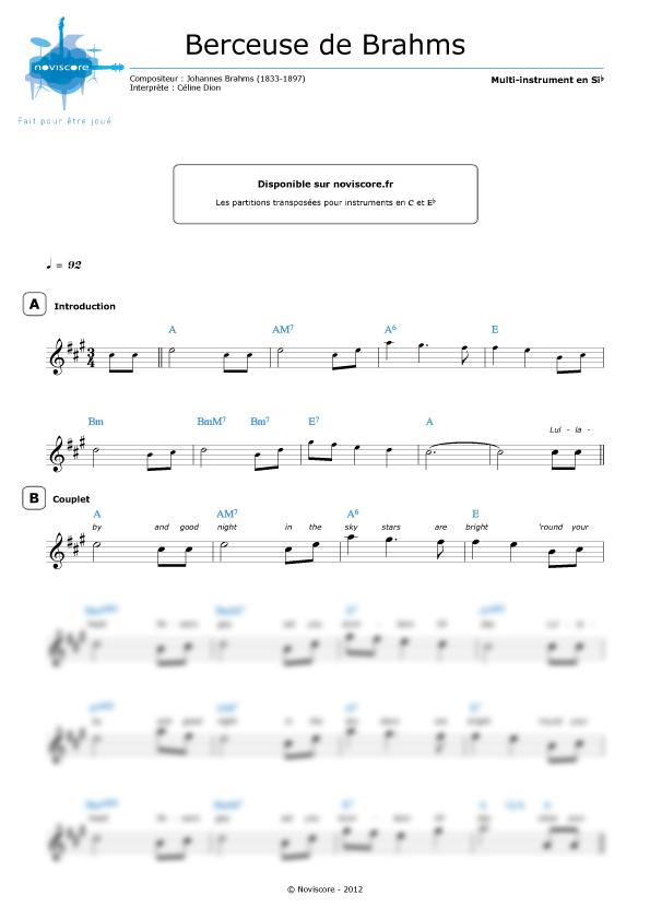 Partitura canci n de cuna de brahms c line dion for Cancion de cuna de brahms