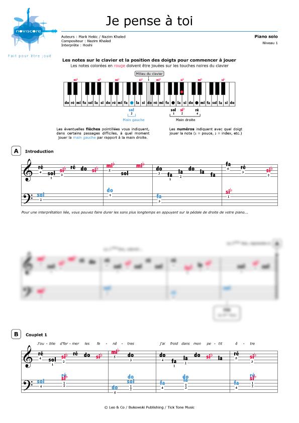 Partitura Piano Je Pense à Toi Hoshi Partituras Noviscore