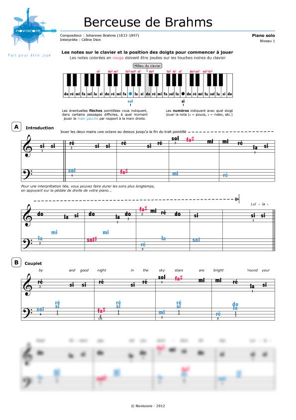 Partitura piano canci n de cuna de brahms c line dion for Cancion de cuna de brahms